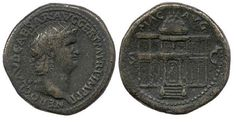 NERO AE Dupondius. NERO CLAVD CAESAR AVG GER P M TR IMP PP, radiate head left / MAC AVG above, S-C across fields, Frontal view of the Macellum Magnum, its domed central section (in two storeys and approached by steps) flanked by two-storied wings of unequal height, with porticoes, above the steps in centre, a male figure, standing left, holding long sceptre in left hand