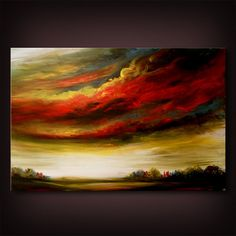 cloud sky art painting tree painting large art modern by mattsart