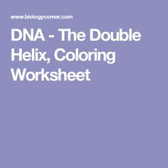 DNA - The Double Helix, Coloring Worksheet … | Pinteres…