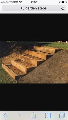 Building Garden Steps, something like these for the front garden hill by the wall. Garden Stairs, Terrace Garden, Garden Paths, Landscaping Retaining Walls, Backyard Landscaping, Landscaping Ideas, Landscape Stairs, Landscape Design, Outside Steps