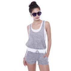 Short Romper With Crop Top #romper, #crop, #top, #grey, #sporty, #minimalist, #chic, #kyliejenner #fashion #shop