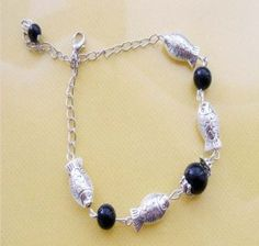 Silver and Black anklet,$6.00 Jewelry :: Anklet :: Beaded :: http://looksharebuy.com/store