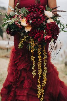we LOVE this blood-red Vera Wang wedding dress! Burgundy Fall Wedding in Big Sur | Archive Rentals