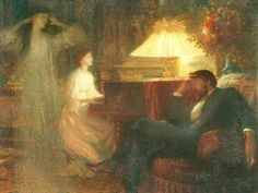 A Reverie (1895). Sir Francis Bernard (Frank) Dicksee (English, 1853-1928). Oil on canvas. Walker Art Gallery. In a reverie induced by his wife playing the piano, the husband hallucinates the girl he didn't marry…