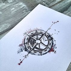 Compass tattoo trash polka watercolor black red: