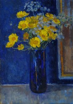 Corn Marigolds by Pamela Kay (British, born Blossom Flower, Flower Art, Fruit Flowers, Roman Art, Everyday Objects, Art Club, Marigold, Rainbow Colors, Still Life