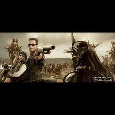 Hasta la Vista, Baby #witchking #terminator #t800 #frodo #battle #lordoftherings #lotr #gun #motocycle #picoftheday #funnypictures #art #photomanipulation #bobphotography @elijahwood @schwarzenegger