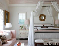 A Soft and Pretty Bedroom This master bedroom designed by Gary McBournie features a Loire iron bed by Niermann Weeks. The pink, white, and brown linens give it a very soft and feminine feel. Featured in the December 2008 issue.