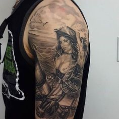 "45b9ecd60 Ace and Sword Tattoo Parlour on Instagram: ""Sexy pirate lady from  @dbar_tattoos . #pirate #piratetattoo #blackandgreytattoo #tattoo  #stencilstuff ..."