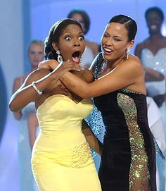 Miss Hawaii Kanoelani Gibson, right, embraces Miss Florida Ericka Dunlap as she is named Miss America 2004 Miss Hawaii, Miss Florida, Pageant Girls, Miss America, Civil Rights, Beauty Queens, Supermodels, Bodycon Dress, Pageants