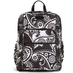 Vera Bradley Lighten Up Large Backpack in Midnight Paisley ($98) ❤ liked on Polyvore featuring bags, backpacks, back to school, midnight paisley, zipper bag, paisley bag, lightweight backpack, padded backpack and water resistant backpack