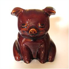 Vintage Hull Pottery Corky Pig Piggy Bank by cheshirecatantiques, $44.99