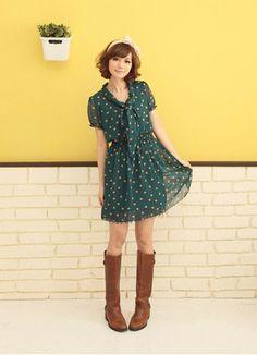 Cute Spots Bowknot Chiffon Dress