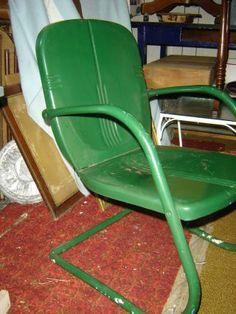 vintage metal rockers   Vintage Metal 50 ' S==green Rocker Chair - Deck - photo