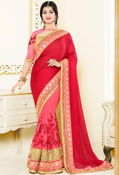Graceful Deep #Red Bollywood Saree @ http://www.indiandesignershop.com/product/graceful-deep-red-bollywood-saree/