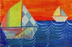 Love this sailboat art project. Perfect for the ending of the school year.
