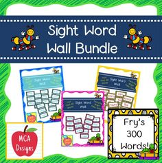 This bundle features all 300 of Fry's sight words! 114 pages of brightly colored word wall posters to brighten your classroom in time for the new school year!