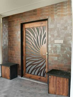 Ideas For Glass Door Design Mandir Wooden Door Design, Main Door Design, Gate Design, House Design, Front Door Design Wood, Entrance Design, Modern Wood Doors, Wooden Doors, Modern Front Door