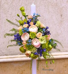 Elegant baby-boy baptism candle  #blueflowers #babyboy #baptism #flowercandle #flowerdesign #flowerdipity #eventdesign #botez Baby Boys, Baptism Candle, Boy Baptism, Elegant, Floral Wreath, Candles, Wreaths, Table Decorations, Home Decor