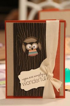 Cute owl card  http://1.bp.blogspot.com/-wkDfKA7SFXU/UIp9ByES1LI/AAAAAAAAG5k/JluRNi5FWMw/s1600/IMG_0447.jpg