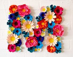 Handmade Four Colour Paper Flower Wall Display by comeuppance