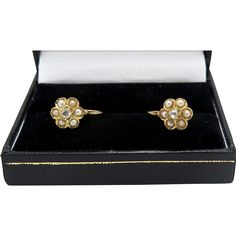 A pair of French Victorian Gold, Diamond Seed Pearl earrings circa 1890 , fully Hallmarked for gold with French eagles head. The Pearls Victorian Gold, 18k Gold, Pearl Earrings, Pairs, Wedding Rings, French, Engagement Rings, Diamond, Amp