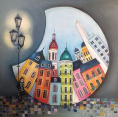 "Saatchi Art is pleased to offer the painting, ""Cúpulas de Buenos Aires,"" by Pilar Sala. Original Painting: Oil on Canvas. Wal Art, Naive Art, Silk Painting, Whimsical Art, Mosaic Art, Painting Inspiration, Art Lessons, Home Art, Watercolor Art"