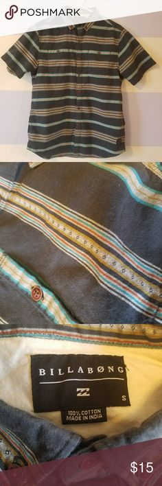 Billabong Stripe Button Down Shirt Navy and Aztec striped button down shirt. Perfect for the beach or casual wear.   Men's small but fits like a women's medium/large. Cute over swim suits in the summer.   No wear. Gently used condition. Freshly laundered and ironed and ready to go! 100% cotton. Billabong Tops Button Down Shirts