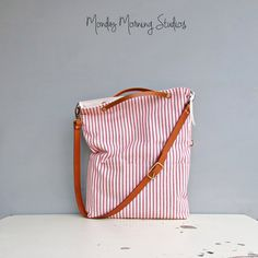Cotton Ticking Tote in Red - Choose Your Adjustable Leather Strap Length - Striped Convertible Tote -  Crossbody Purse - Made in USA by MondayMorningStudios on Etsy