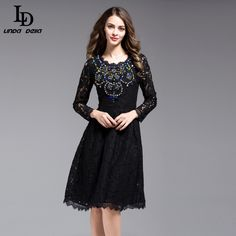 Cheap fit and flare, Buy Quality vestidos f directly from China vestidos fashion Suppliers: 2017 Spring High Quality Fashion Lace Diamonds Women Dress Casual Hollow Out Knee-Length Black Female Fit and Flare Vestido Fashion 2017, Trendy Fashion, Fashion Outfits, Fashion Trends, Casual Dresses For Women, Clothes For Women, Formal Dresses, Dress Casual, Plus Size Kleidung