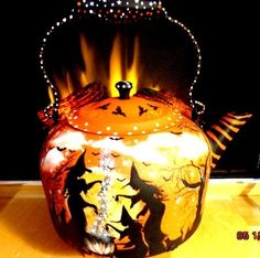 Have one to sell? Sell it yourself         VINTAGE WITCH BLACK CATS RAVENS HALLOWEEN X* LRG TEA KETTLE PAINTED ALL AROUND