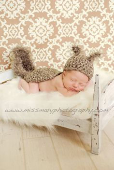 Newborn Baby SQUIRREL Hat and Cape Photo Prop  Boy by pixieharmony, $36.95