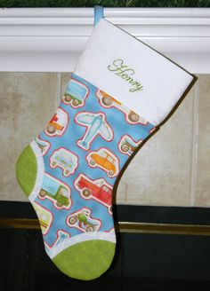 Blue and green boys personalized Christmas stocking. Cars. Trucks, Airplanes, Motorcycles. CUSTOM