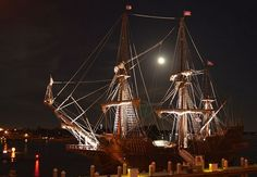 El Galeón under the full moon from St. Augustine's Bridge of Lions - the Galleon, built in Spain by the Nao Foundation, is like the ship oldest city founder Pedro Menendez and other Spanish explorers would have sailed to the New World. See more photos of the ship and crew at: http://www.examiner.com/slideshow/el-galeon