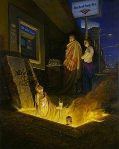 Sandow Brik - Dante and Farinata  이것은 명백히 Gustave Dore의 패러디이다. 아메리칸 뱅크 아래에 있는 '이단'은 어떤 죄를 지었기에 이단의 죄를 받고 있는 것일까?