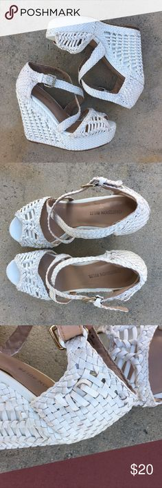 White Basketweave Strappy Wedges Super Cute!  These white wedges are perfect for summer! They look super cute with virtually anything and are easy to style! Would look cute with skinny jeans or summer dresses. Perfect for maxj dresses! Has some wear, weaving coming loose so pls look through pictures.   Pls send offers 🌹 Obsession Rules Shoes Wedges