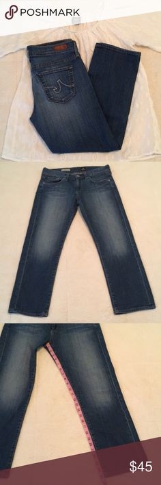 Adriano Goldschmied the Tomboy Relaxed Straight Cr Adriano Goldschmied the Tomboy Relaxed Straight Crop, little wear shown in last pic, inseam 25 inches, size 28, top not included Ag Adriano Goldschmied Jeans Ankle & Cropped