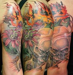 """""""Forest Fire"""" Tattoo (arm shown from 3 different angles) 