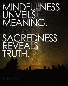 Mindfulness unveils meaning. Sacredness reveals truth.