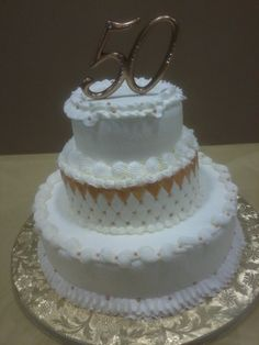 Three Tiered Round Buttercream. The Golden Years. D & D Cake Designs/Jacksonville, Florida