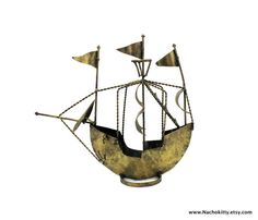 1950s Brass Sailing Tall Ship Sculpture by Nachokitty on Etsy, $75.00