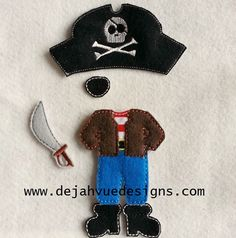 Boy Pirate Felt Non Paper Doll Outfit Embroidery Design