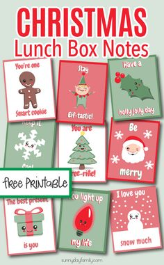 Free printable Christmas lunchbox notes your kids will love. These are too cute! They make a great printable gift tag too. #Christmasforkids #lunchboxnotes #Christmasprintables #Christmasgifttags