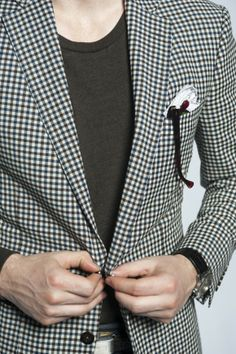 """Dapper Boy: A Classic way to wear our """"The Perfect Dressy Tee"""". Cotton/Linen check blazer by Michael Andrews Bespoke, """"The Perfect Dressy T-Shirt"""" by Six Threads and Vintage pocket square. #sixthreadshttp://sixthreads.com/collections/1-shirt/products/ric-x-dan-trepanier-the-perfect-dressy-tee-heather-green-tri-blend"""