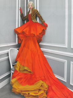 Christian Dior Haute Couture S/S 1997, Daphne Groeneveld in an orange Kamata ...
