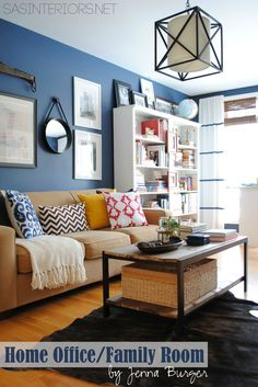 Love this Home Office / Family Room Reveal with Navy walls & Yellow accents {before & after} by @Anna S Interiors Jenna Burger