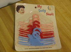 """Vintage 1940's/1950's Doll clothes Hangers.Tiny Tears,Betsy Wetsy,etc""""Totsy Mfg"""