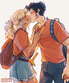 """percy jackson and annabeth chase. they are the motherfucking blueprint"" Sketches, Percy Jackson Art, Drawings, Artist, Fan Art"
