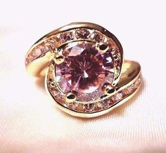 womens pink cubic zirconia size 7 ring solitaire with accents 14k gold plated  #Unbranded #SolitairewithAccents
