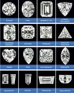 Diamond Cuts/Shapes >>> I love the emerald and asscher cuts Marriage Jewellery, Diamond Guide, Engagement Ring Cuts, Round Diamonds, Cuts Of Diamonds, Shapes Of Diamonds, Buy Diamonds, Gems And Minerals, Diamond Shapes